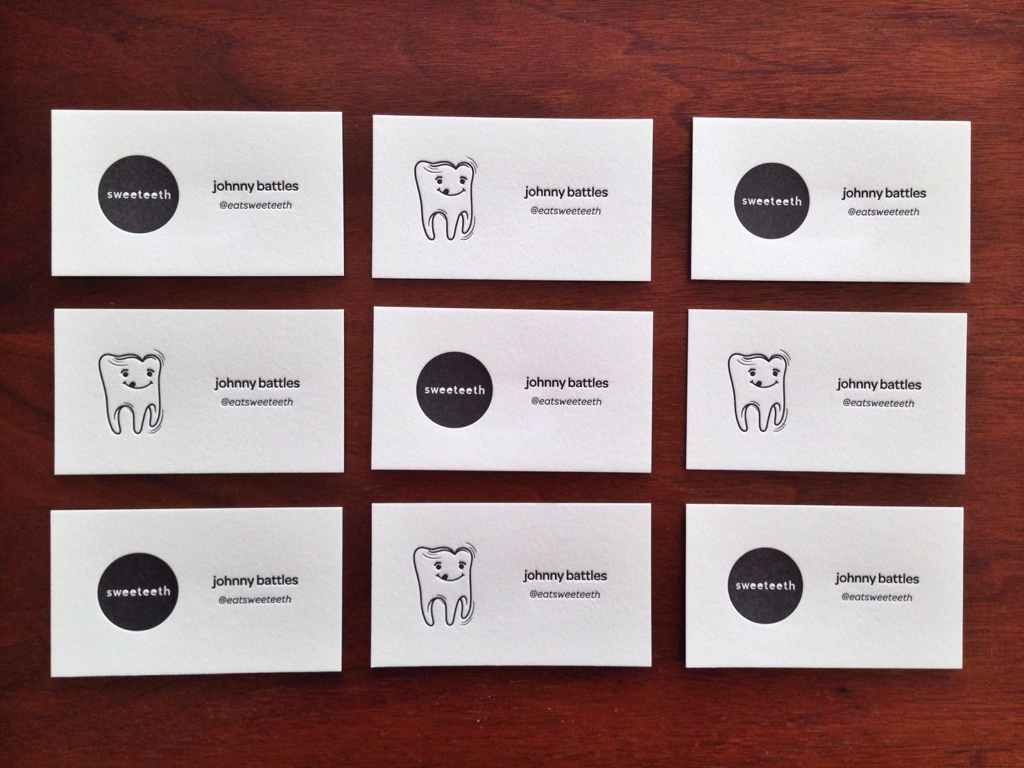 Sweeteeth Letterpress Business Cards | printed by INK MEETS PAPER