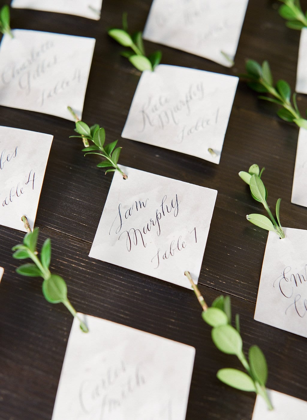 Wedding-day calligraphy escort cards with plant element