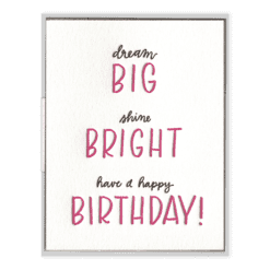 Big Bright Birthday Letterpress Greeting Card