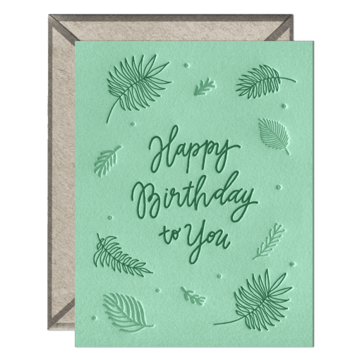 Birthday Ferns Letterpress Greeting Card with Envelope