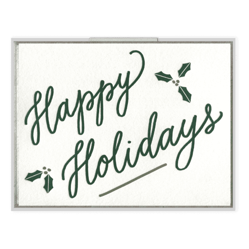 Happy Holidays Letterpress Greeting Card