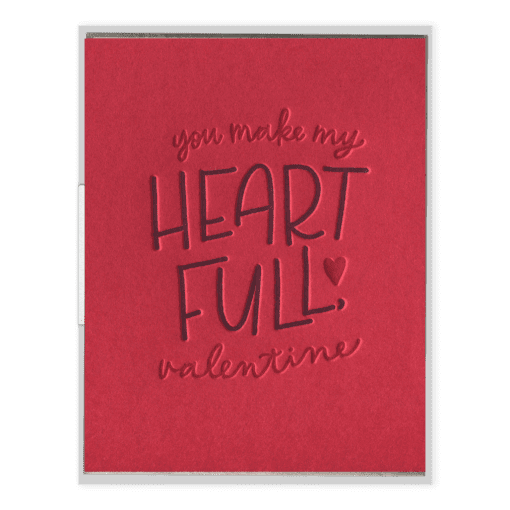 Heart Full Valentine Letterpress Greeting Card