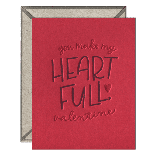 Heart Full Valentine Letterpress Greeting Card with Envelope