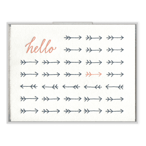 Hello Arrows Letterpress Greeting Card