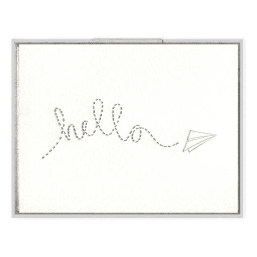 Hello Paper Plane Letterpress Greeting Card