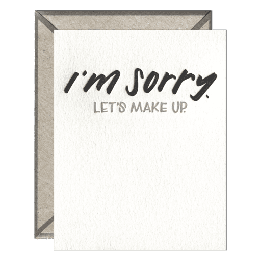 I'm Sorry Letterpress Greeting Card with Envelope