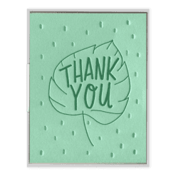 Leaf Thank You Letterpress Greeting Card