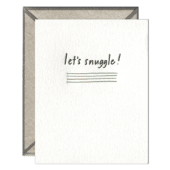 Let's Snuggle Letterpress Greeting Card with Envelope