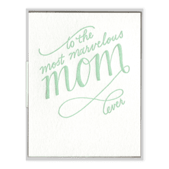 Marvelous Mom Script Letterpress Greeting Card
