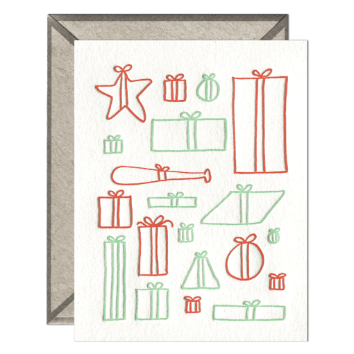 Presents Letterpress Greeting Card with Envelope