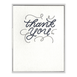 Thank You Flourishes Letterpress Greeting Card