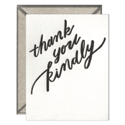Thank You Kindly Letterpress Greeting Card with Envelope