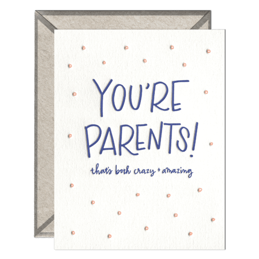You're Parents Letterpress Greeting Card with Envelope