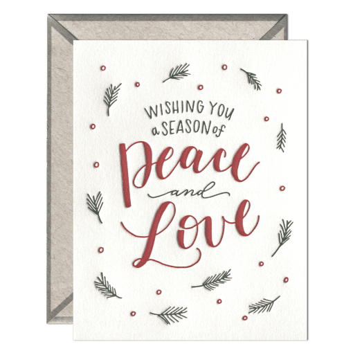A Season of Peace & Love Letterpress Greeting Card with Envelope