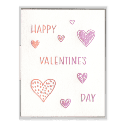 Valentine's Day Hearts Letterpress Greeting Card