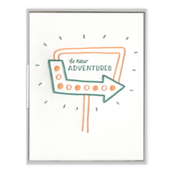 To New Adventures Letterpress Greeting Card