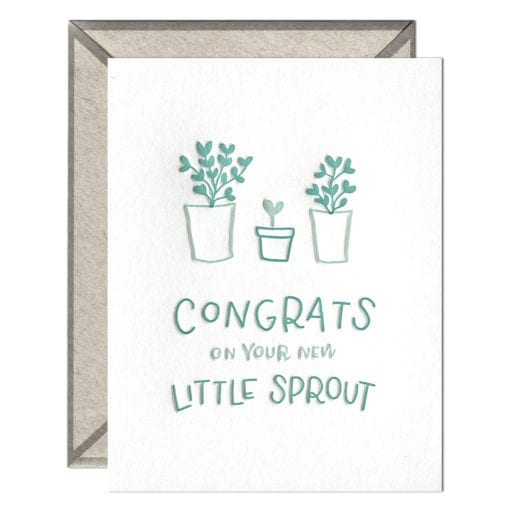Little Sprout Congrats Letterpress Greeting Card with Envelope