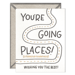 Going Places Letterpress Greeting Card with Envelope
