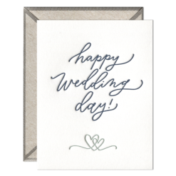 Happy Wedding Day Script Letterpress Greeting Card with Envelope