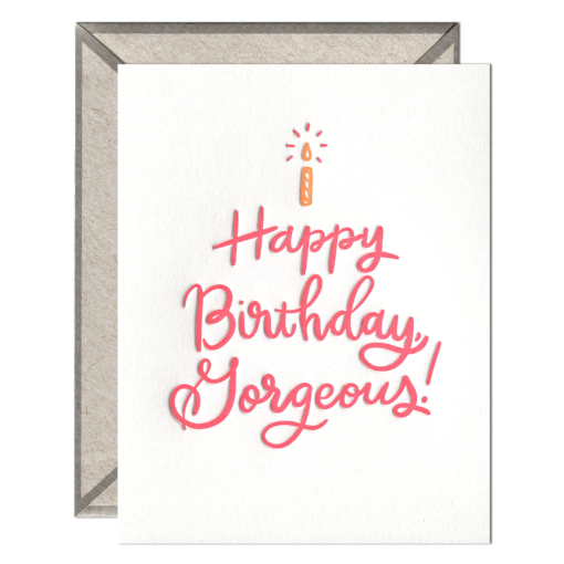 Happy Birthday Gorgeous Letterpress Greeting Card with Envelope