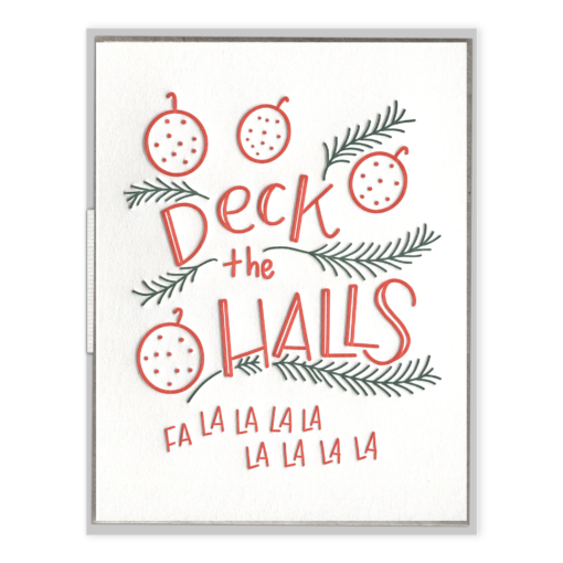 Deck the Halls Letterpress Greeting Card with Envelope