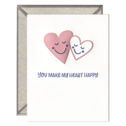 Make My Heart Happy Letterpress Greeting Card with Envelope