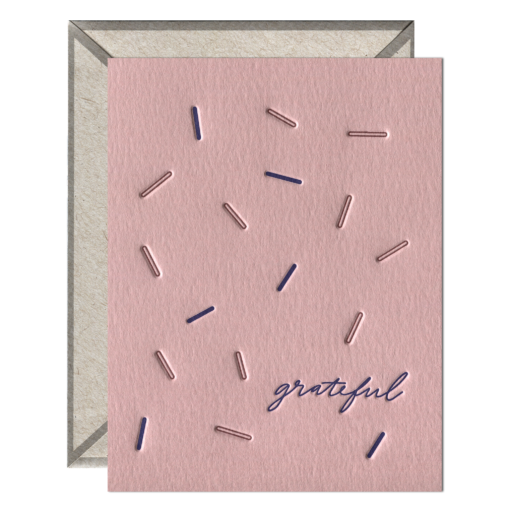 Grateful Letterpress Greeting Card with Envelope