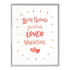 Partner Lover Valentine Letterpress Greeting Card