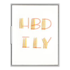 HBD ILY Letterpress Greeting Card