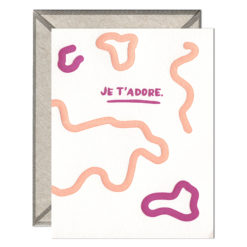 Je t'adore Letterpress Greeting Card with Envelope